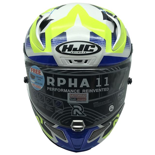 Blanc//Bleu//Jaune Casque moto HJC RPHA 11 NECTUS MC24H XS